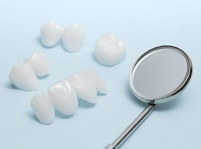 Several metal free dental restorations prior to placement